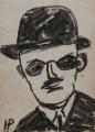 Portrait of a Man with a Bowler Hat (Bildnis eines Mannes mit Melone), 1972, ink on paper, 28,2 x 20,5 cm