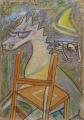 Nur nächtens, o. J., Wachs auf Packpapier, 100 x 70 cm
