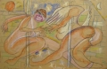 Dance/ Twist, 2007, wax crayon on packaging paper, 98 x 156 cm