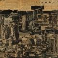 Nekropolis, 1962, Zeitungscollage auf Leinwand, 100 x 100 cm