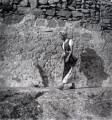 Girl in Front of a Block Wall, 1940, black and white print, 40 x 40 cm