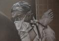 Abtreibung ist Männersache, 1976, Farbstift auf braunem Papier, 70 x 100 cm