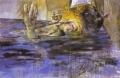 Über das Leben im Wasser, 1981/1982, Eitempera und Öl auf Leinwand, 195 x 295 cm
