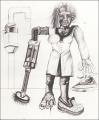 Hausfrau, 1969, Blei- und Farbstift auf Papier, 76,5 x 59,5 cm