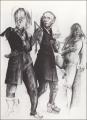 Revue, 1974, Blei- und Farbstift auf Papier, 102 x 72 cm