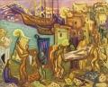 Carmelas Grablegung, 1963, Öl auf Leinwand, 70 x 80 cm