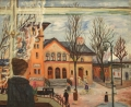 Bahnhof in Berlin-Lichterfelde, 1928, Öl auf Leinwand, 50 x 60,5 cm