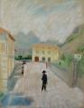 Straße in Torbole, Gardasee, 1946, Pastell auf Papier, 48 x 38 cm