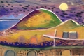 o.T. (Berge bei Vollmond), o. J., Aquarell auf Papier, 27 x 40,5 cm