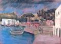 Porto d'Ischia (Nächtlicher Hafen), 1950, Pastell auf Papier, 36 x 49 cm