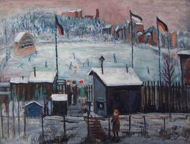 Skating rink in Berlin-Kreuzberg (Schlittschuhbahn in Berlin-Kreuzberg), 1928, oil on canvas, 38,5 x 50,5 cm