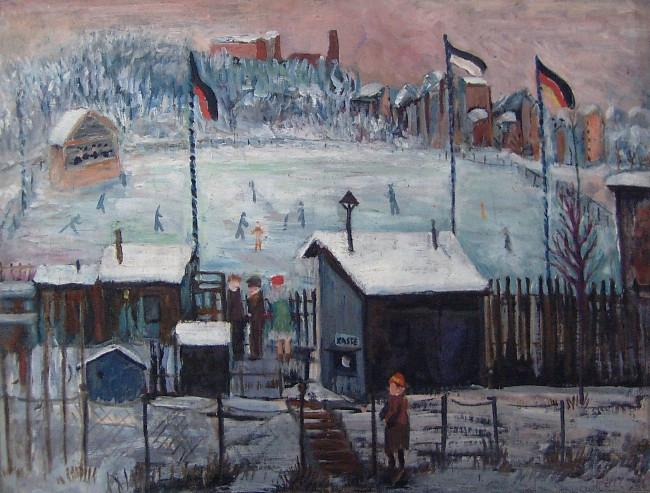 Skating rink in Berlin-Kreuzberg (Schlittschuhbahn in Berlin-Kreuzberg), 1928, oil on canvas, 38,5 x 50,5 cm