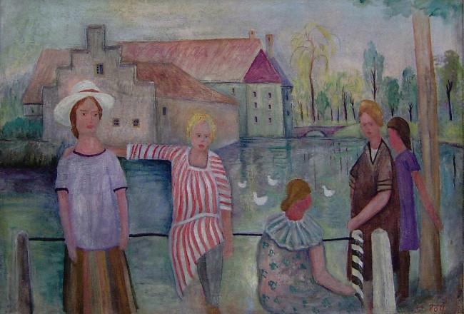 Girl at the castle pond (Mädchen am Gartenteich), 1930, oil on canvas, 47,5 x 66,5 cm