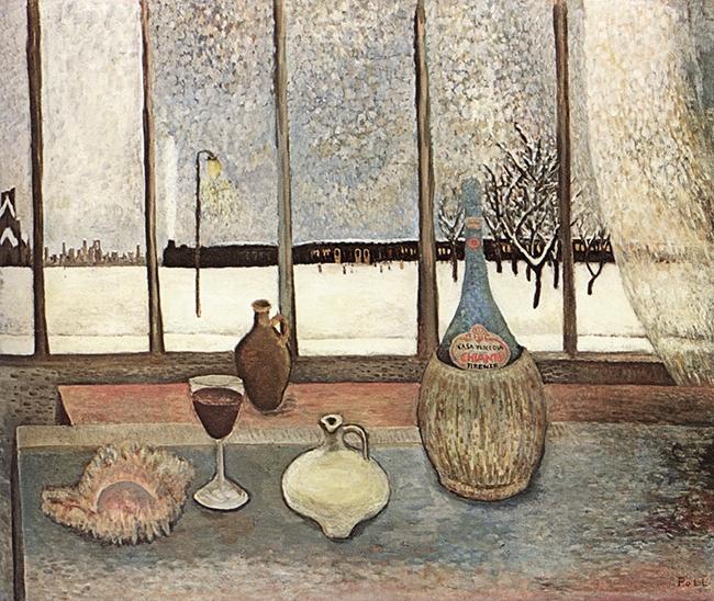 Studio Window in Grunewald, Still Life in Winter (Atelierfenster in Grundewald, Stillleben im Winter), 1945, oil on canvas, 50 x 60 cm
