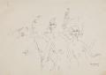 Drei Akte in der Stadt, 1928, Federzeichnung auf Papier, 23 x 32 cm