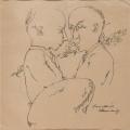 Two Men in Front of Houses (Zwei Männer vor Häusern), 1927, pen drawing on paper, 19,5 x 19,7 cm
