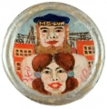 Sailor with Girl (MS Eva), 1972, oil and acrylic on round cardboard cover, diameter: 22,5 cm