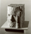 Head with Hand (Kopf mit Hand), 1979, plaster and glass eyes, height 30 cm