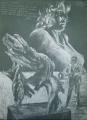 o. T. (für Erhard Wehrmann), 12.1984, weiße Kreide auf grauem Papier,  49,8 × 36,1 cm
