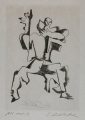 "Sheet of the portfolio ""Guillaume Apollinaire, Sept Calligrammes"", 1967, etching on Japon Nacré, 31,5 x 22,5 cm"