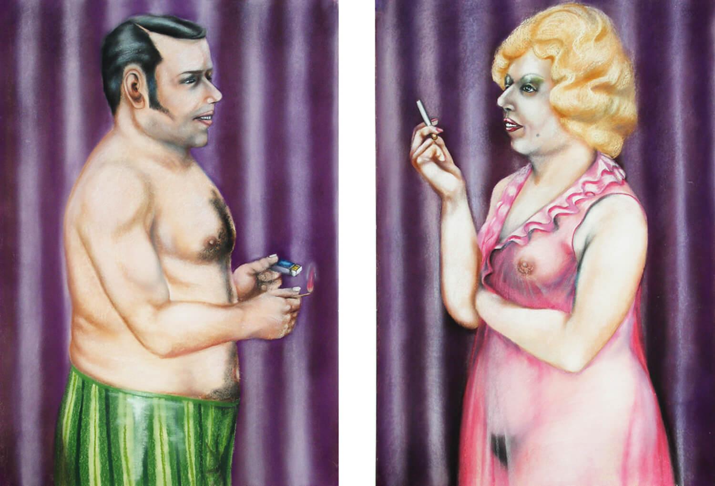 Hermann Albert, Mann mit Streichholz und Frau mit Zigarette, 1973, Pastellkreide auf Papier, je 100 x 70 cm