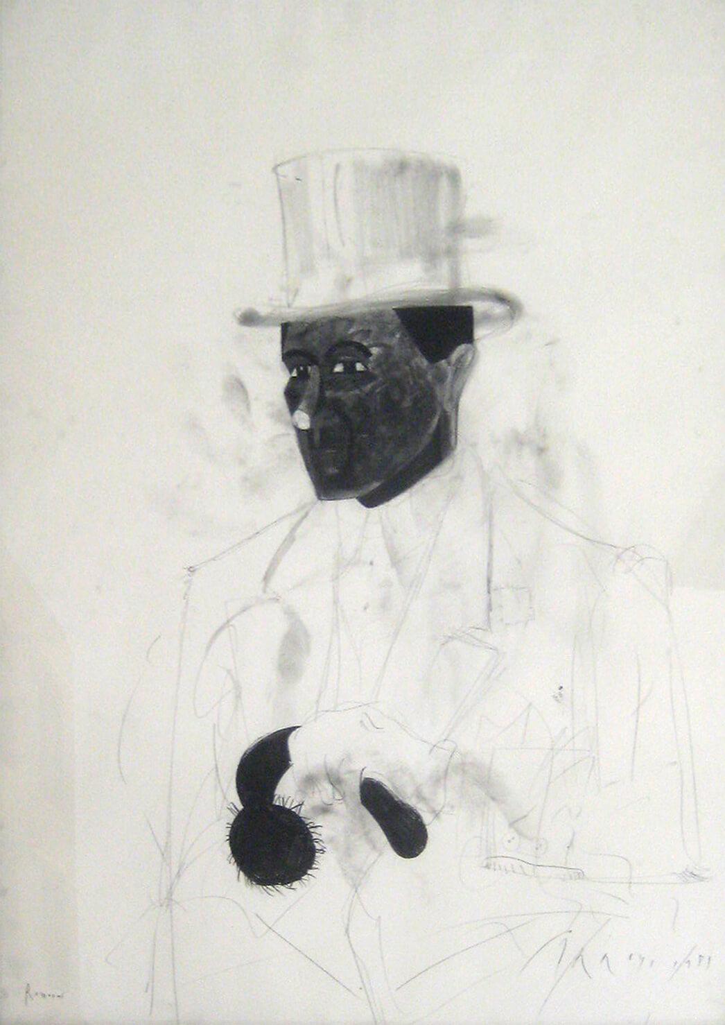 Eduardo Arroyo, Schornsteinfeger, 1981, Bleistift auf Papier, 101,5 x 72,4 cm