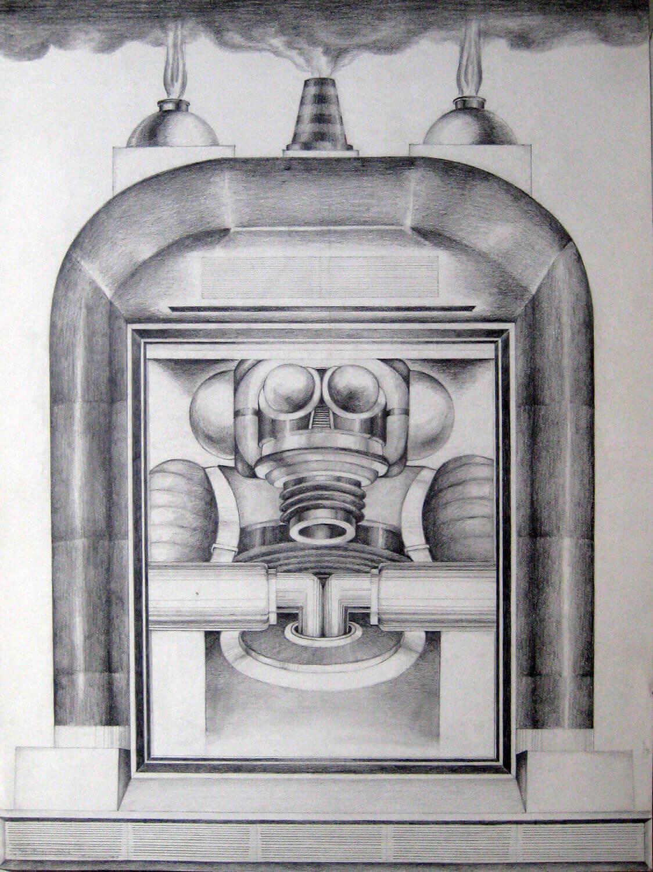 Bettina von Arnim, In Quarantäne, 1971, Bleistift auf Papier, 82 x 61 cm