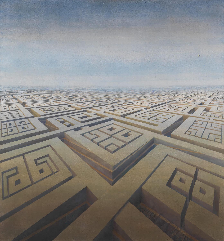 Bettina von Arnim, Nach-Stadt, 1982, Öl auf Leinwand, 125 x 115 cm