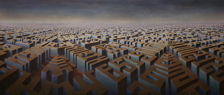 Bettina von Arnim, Städte-Meer, 1997, Öl auf Leinwand, 65 x 150 cm