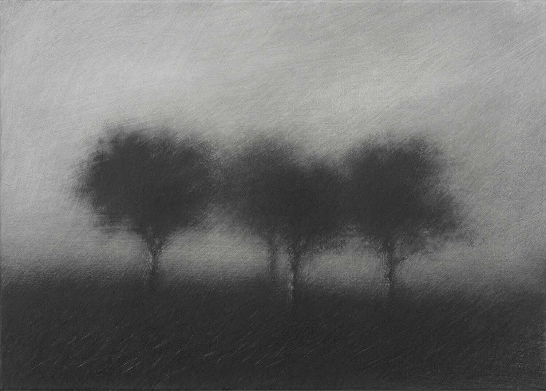 Danja Akulin, o. T., 2014, Graphit auf Papier, aufgezogen auf Leinwand, 53 x 74 cm