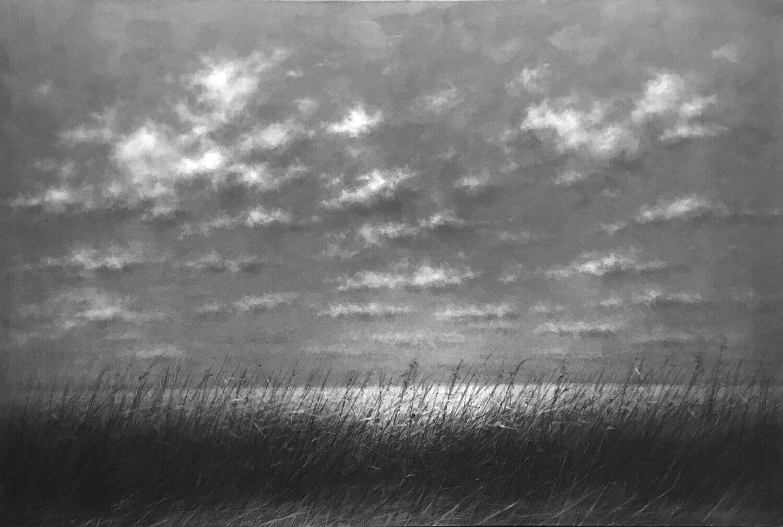 Danja Akulin, o. T., 2018, Graphit auf Papier, aufgezogen auf Leinwand, 135 x 200 cm