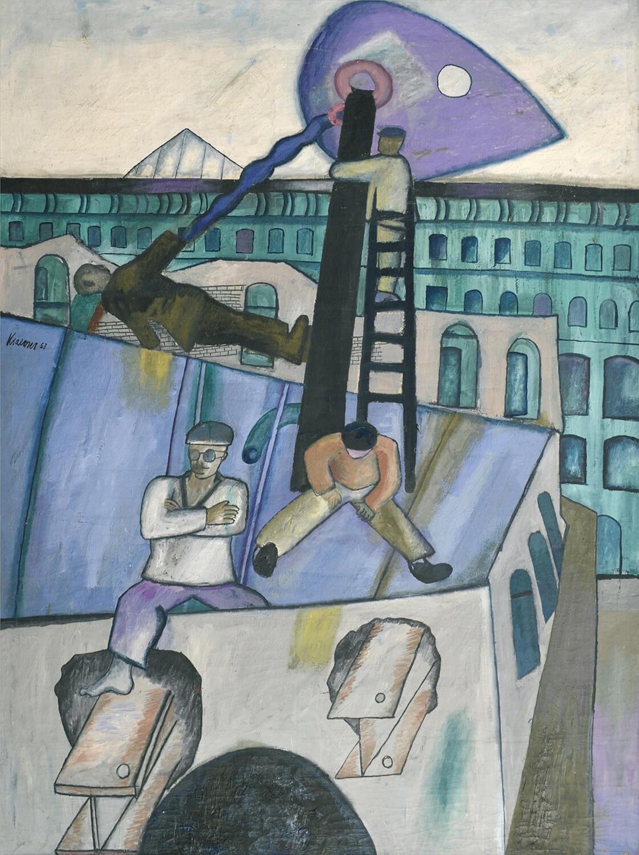 Dieter Kraemer, Abbruch, 1958, Öl auf Nessel, 135 x 100 cm