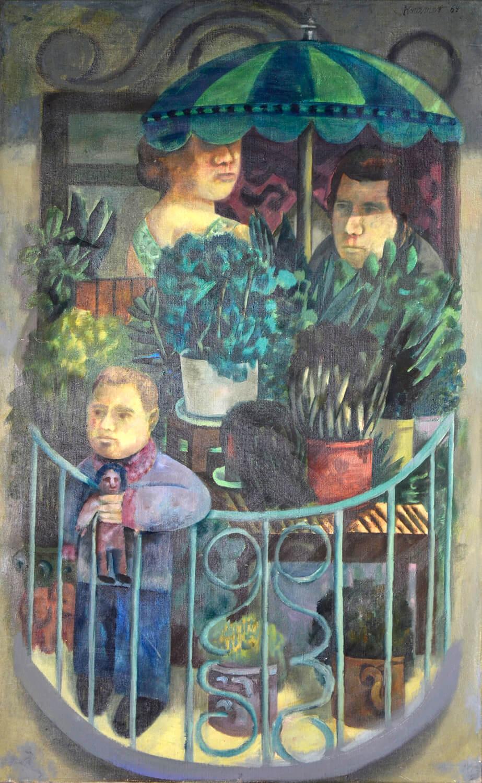 Dieter Kraemer, Berliner Balkon, 1964, Öl auf Leinwand, 130 x 82 cm