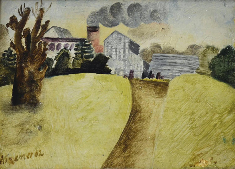 Dieter Kraemer, Botanischer Garten Berlin,1962, Öl auf Holz, 17,5 x 24 cm