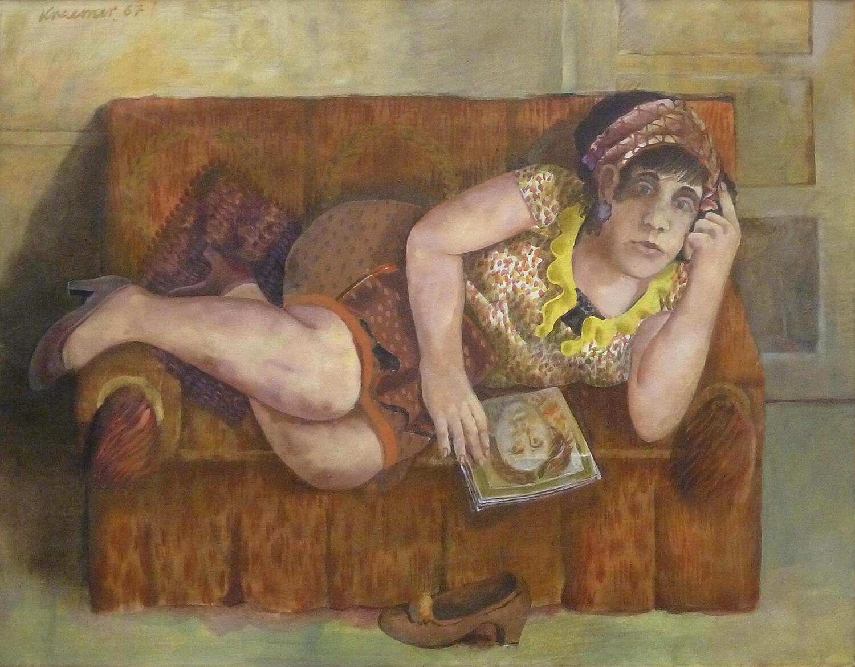 Dieter Kraemer, Sofabild I, 1964, Öl auf Leinwand, 100 x 130 cm