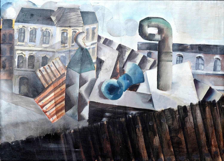Dieter Kraemer, Stadt 1, 1961, Öl auf Nessel, 55 x 74 cm