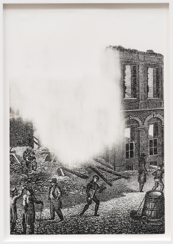 Daniel Poller, Im grauen Hof, Studienblatt 5, 2017, ausgelöschter Offsetdruck, 47 x 32.50 cm, gerahmt