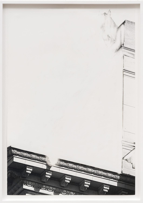 Daniel Poller, Quadrigadurchbruch, Studienblatt 4, 2017, ausgelöschter Offsetdruck, 47 x 32.50 cm, gerahmt