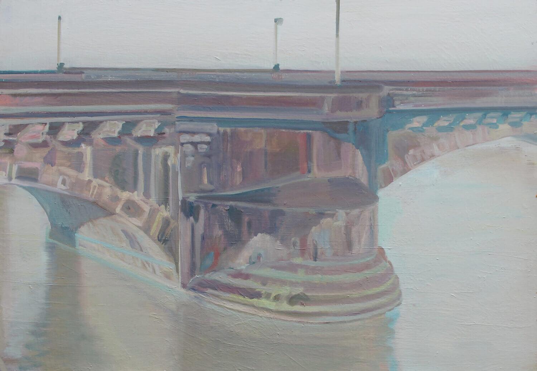 Eric Keller, Brückenpfeiler, 2011, Öl auf MDF, 70 x 100 cm