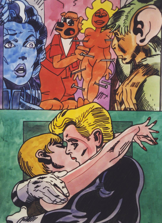 Erró, o. T. 1992, Aquarell, 76 x 56 cm