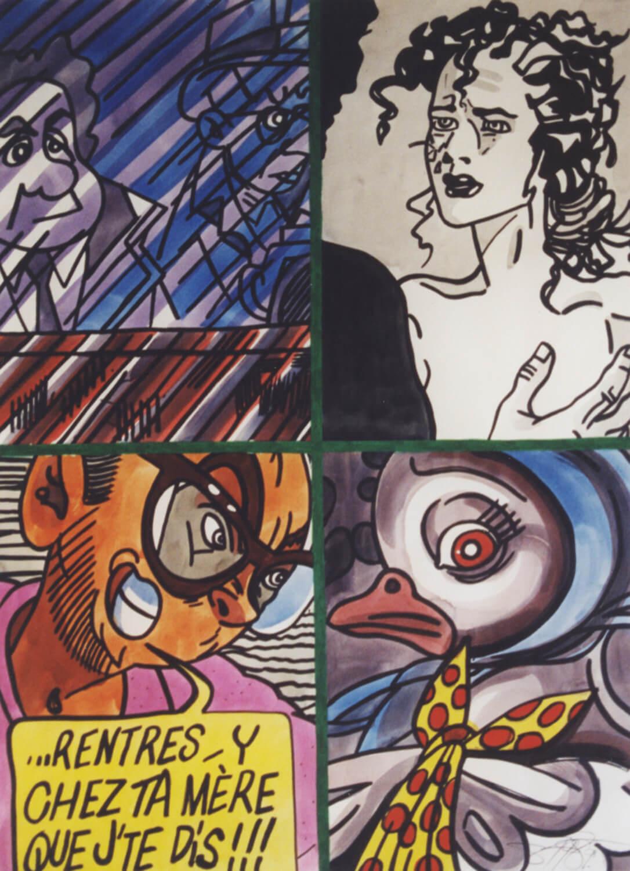 Erró, Rentres-y chez ta Mère que j'te dis!!!, 1989, Aquarell, 76 x 56 cm