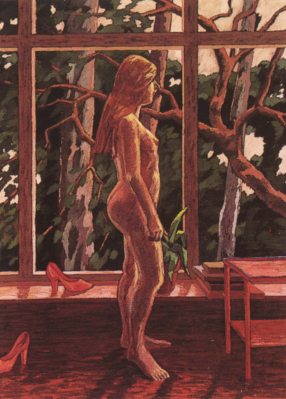 Hermann Albert, Akt vor Fenster zum Garten, 1977, Tempera auf Leinwand, 230 x 170 cm