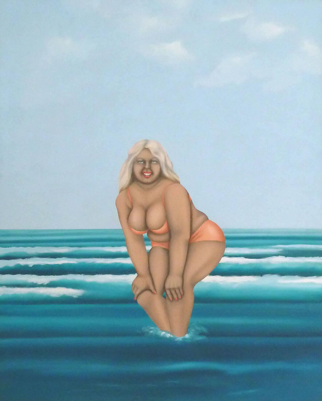 Hermann Albert, Blondine schön braun, 1971, Acryl auf Leinwand, 200 x 170 cm