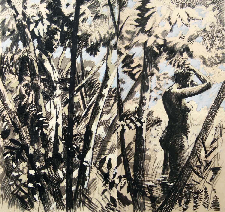 Hermann Albert, Mann und Badende, 1978, Kohle und Aquarell auf Leinwand aufgezogen (Diptychon), 250 x 240 cm
