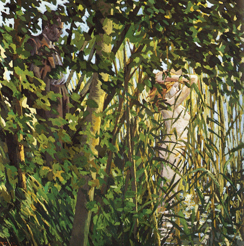 Hermann Albert, Mann und Badende, 1979, Tempera auf Leinwand, 250 x 250 cm