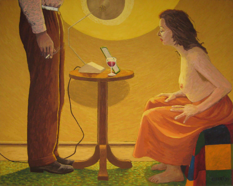 Hermann Albert, Sitzende Frau und Mann, 1979, Tempera auf Leinwand, 130 x 160 cm