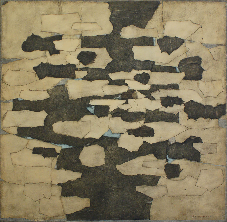 Herbert Kaufmann, Bildcollage 22/60, 1960, Collage auf Leinwand, 100 x 100 cm