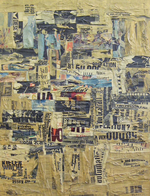 Herbert Kaufmann, Gazette, 1962, Collage auf Leinwand, 130 x 100 cm