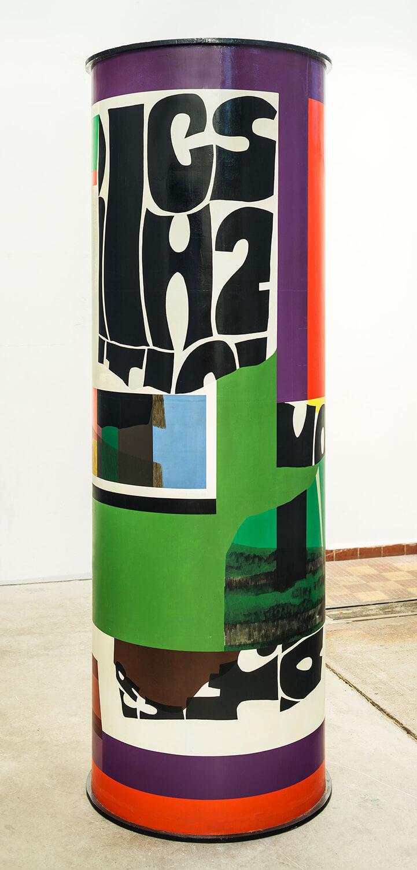 Herbert Kaufmann, Hommage à Litfaß, 1968, Öl auf Holz, 230 x 75 cm