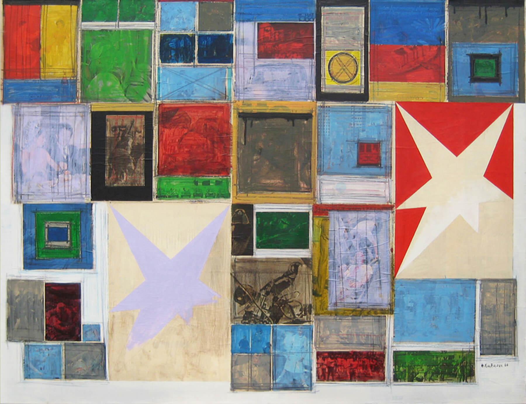 Herbert Kaufmann, Sternzeichen II, 1966, Mischtechnik, Collage auf Leinwand,130 x 170 cm